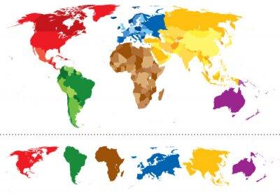 Adesivo World map continents multicolored