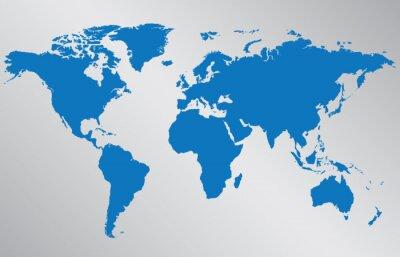 Adesivo World map illustration on gray background