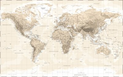 Adesivo World Map Physical - Vintage Retro Old Style - Vector Detailed Illustration