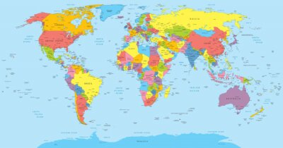 Adesivo World map with countries, country and city names