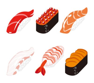 Adesivo 寿司 六 貫 白 バ ッ ク セ ッ ト - Sushi sei oggetti set