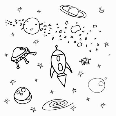 Adesivo Космические объекты на белом фоне