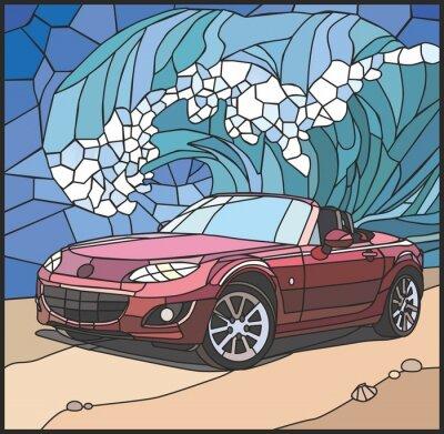 Adesivo Автомобиль на берегу моря (Auto sulla spiaggia)