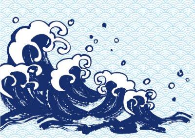 Adesivo 海 毛筆 水色