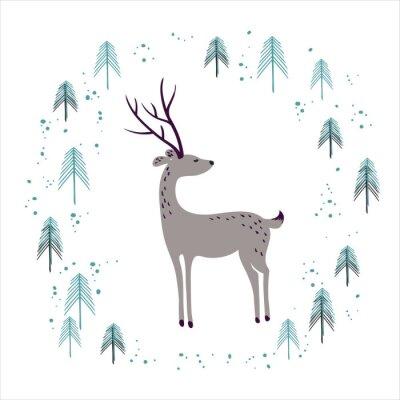 Adesivo Cervi in pineta d'inverno isolato su bianco.