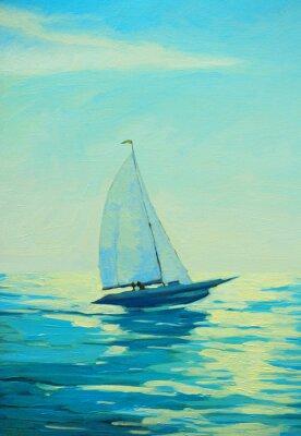 Adesivo yacht con la vela al mattino mare Mediterraneo, la pittura
