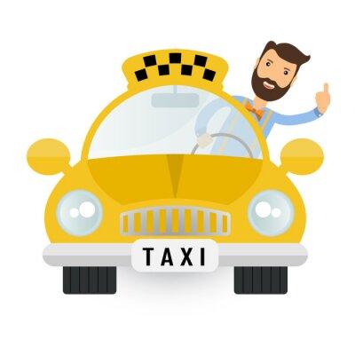 Adesivo yellow taxi car - vector icon