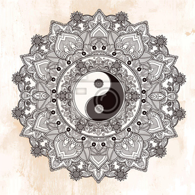 Adesivo Yin e Yang simbolo mandala.