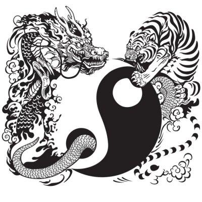 Adesivo yin yang with dragon and tiger