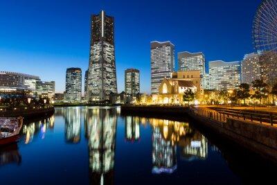 Adesivo Yokohama paesaggio urbano di notte