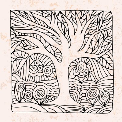 Adesivo Zentangle con albero e fiori