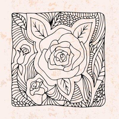 Adesivo Zentangle con rose e foglie