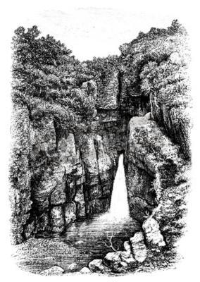 Carta da parati 19 ° secolo della cascata nei pressi di Lydford, Devon, Regno Unito