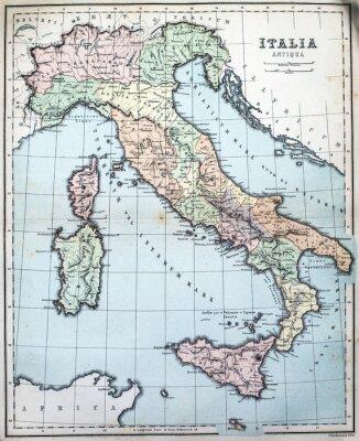 Carta da parati 19 ° secolo la mappa di Roman Italia