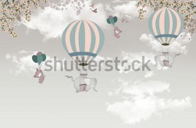 Carta da parati 2 elefante con albero balon sullo sfondo del cielo 3d