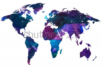 Carta da parati 2d illustrazione disegnata a mano della mappa del mondo. Immagine di acquerello sfumata di colore del pianeta terra isolata. Continenti colorati Sfondo bianco.