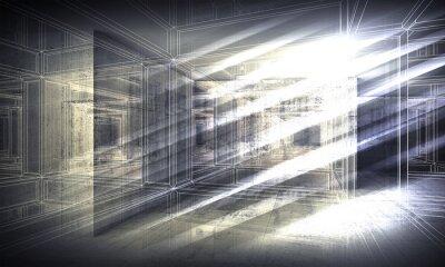 Carta da parati 3 d fondo, vista prospettica wire-frame