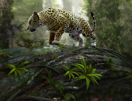Carta da parati 3d CG graphics of a jaguar on the prowl