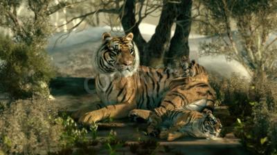Carta da parati 3d computer grafica di una madre tigre con due bambini