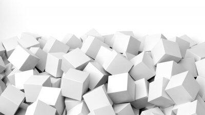 Carta da parati 3D cubi bianchi mucchio, isolato su bianco con copia-spazio