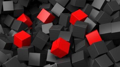 Carta da parati 3D cubi neri e rossi mucchio astratto