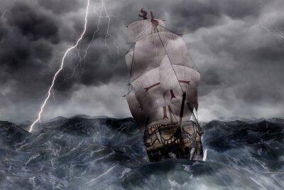 3d galeone veliero nel mare in tempesta carta da parati for Carta da parati 3d mare