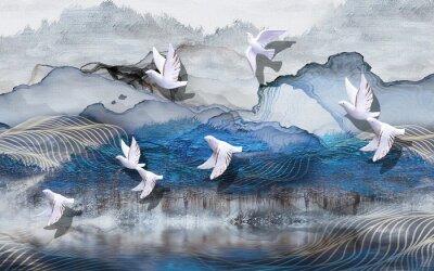 Carta da parati 3d illustration, abstract grunge background, gray and blue waves, smoke, white gilded ceramic birds