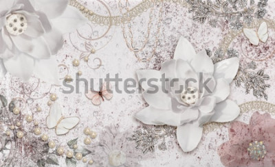 Carta da parati 3d illustration of flower background-3d wallpaper