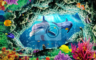 Carta da parati 3d illustration  wallpaper under sea dolphin, Fish, Tortoise, Coral reefsand water with broken wall bricks background. will visually expand the space in a small room, bring more light and become an ac