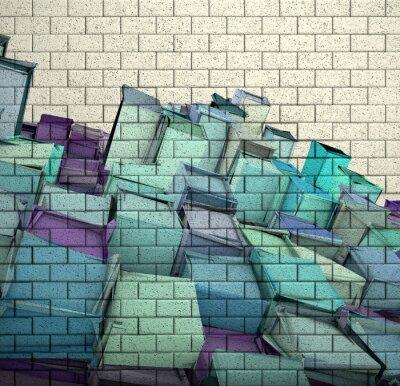 Carta da parati 3d mosaico di piastrelle muro di mattoni con il cubo frammentato modello