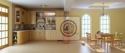 Sala Da Pranzo Classica.Carta Da Parati 3d Rendering Cucina Di Lusso E Sala Da Pranzo Classica