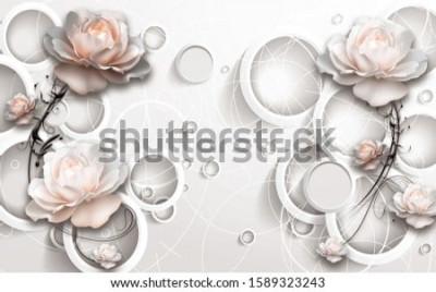 Carta da parati 3D Rings and Flowers wallpaper