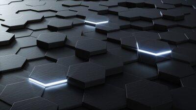 Carta da parati 3D tecnica esagonale sfondo di progettazione