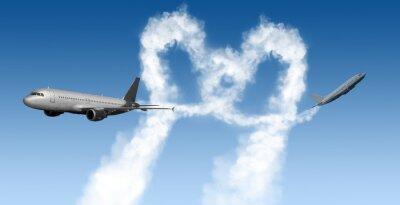 Carta da parati a forma di cuore tracce dagli aerei sul blu