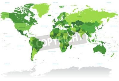 Carta da parati A High Particolare vettore Mappa del mondo nei toni del verde. Tutti i paesi sono chiamati con il rispettivo nome inglese.