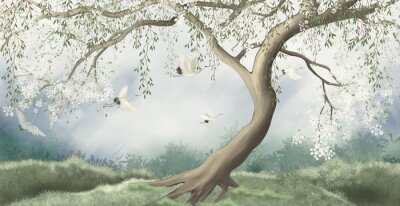 Carta da parati A tree in the fog with a crane flying. For interior printing.