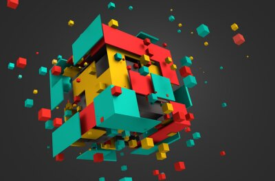 Carta da parati Abstract 3D Rendering of Flying Cubes.