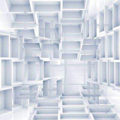 Carta da parati Abstract background 3D digitale con cubi bianchi caotici