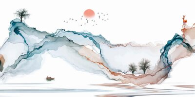 Carta da parati Abstract background ink line decoration painting landscape artistic conception