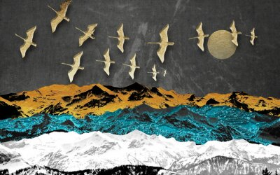Carta da parati Abstract colored mountains on a dark background, full moon, flock of birds