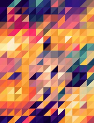 Carta da parati Abstract golden and blue triangles background