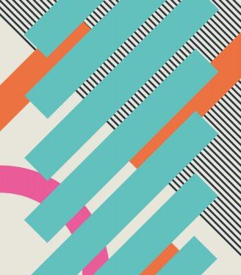 Carta da parati Abstract retro anni '80 sfondo con forme geometriche e pattern. disegno materiale.