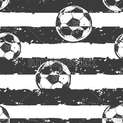 Carta da parati Abstract seamless football pattern. Grunge urban repeated backdrop for boy,sport textile, clothes, wrapping paper. Grungy textured wall. Sportish elements. Monochrome grey and white background