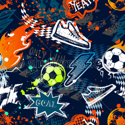 Carta da parati Abstract seamless football pattern. Sport background. Grunge repeated backdrop for boy, textile, clothes,wrapping paper. Colorful print with speech cloud, goal, lightning, fire, soccer ball, sneakers