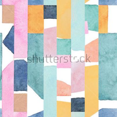 Carta da parati Abstract watercolor seamless pattern. Artwork in geometric modern style.