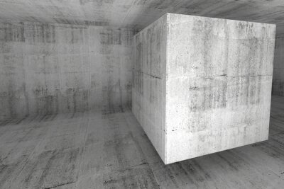 Carta da parati Abstract white concrete room 3d background with cube