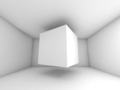 Carta da parati Abstract white room interior, flying cube
