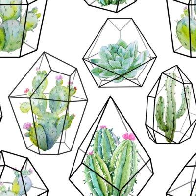 Carta da parati Acquarello modello vettoriale Cactus