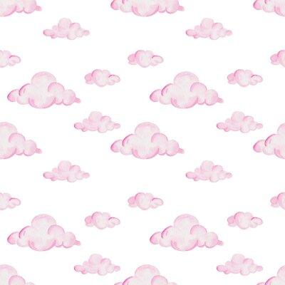 Carta da parati Acquazzone dell'acquerello. Nuvole rosa su sfondo bianco. Per il design, la stampa o lo sfondo