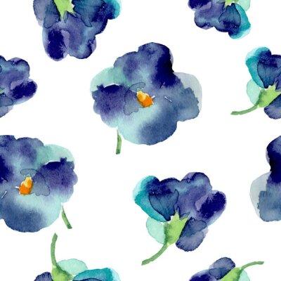 Carta da parati Acquerello di fiori viola seamless.